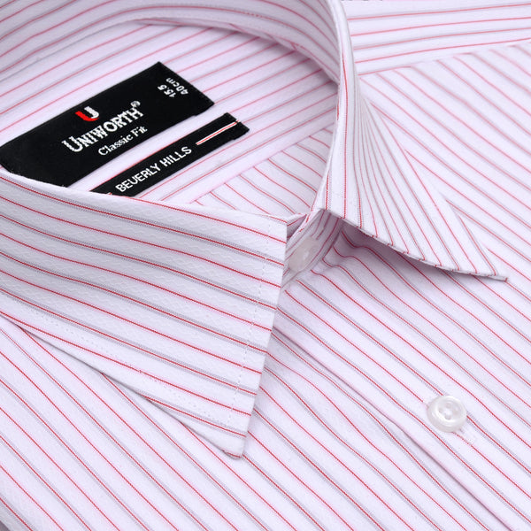 Beverly Hills White And Red Striped Classic Fit Men's Dress Shirt