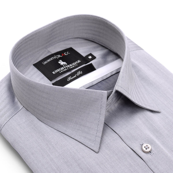 Knight Bridge Grey Self Striped Half Sleeve Dress Shirt FS2011H