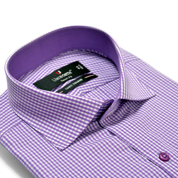 Times Square Purple And White Smart Fit Check Shirt