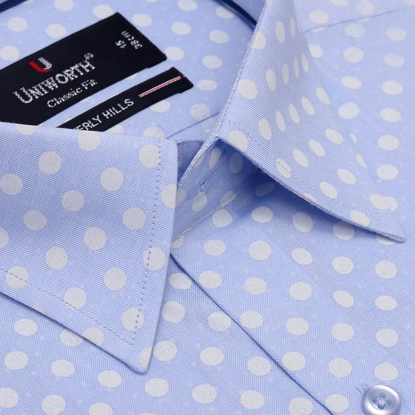 Beverly Hills White Dots On Sky Blue Printed Dress Shirt