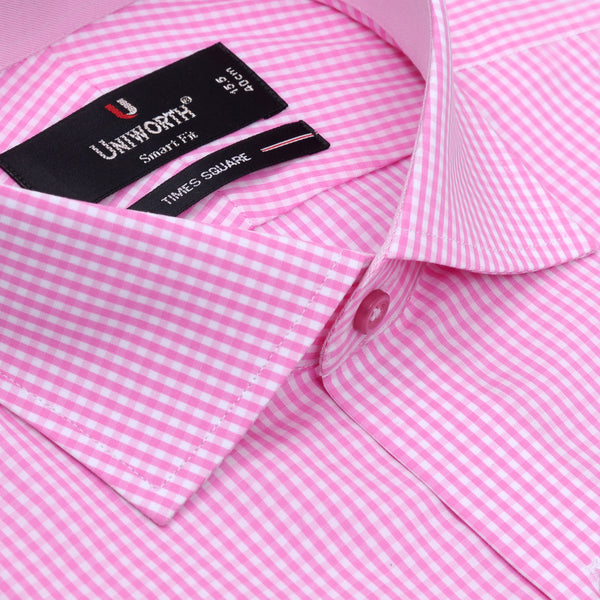 White And Pink Check Smart Fit Designer Shirt
