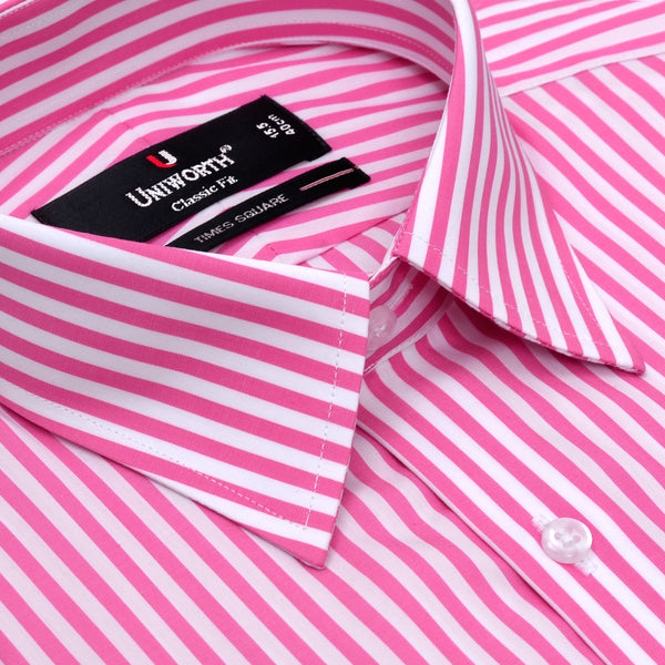 Time Square White And Pink Stripe Classic Fit Men Dress Shirt