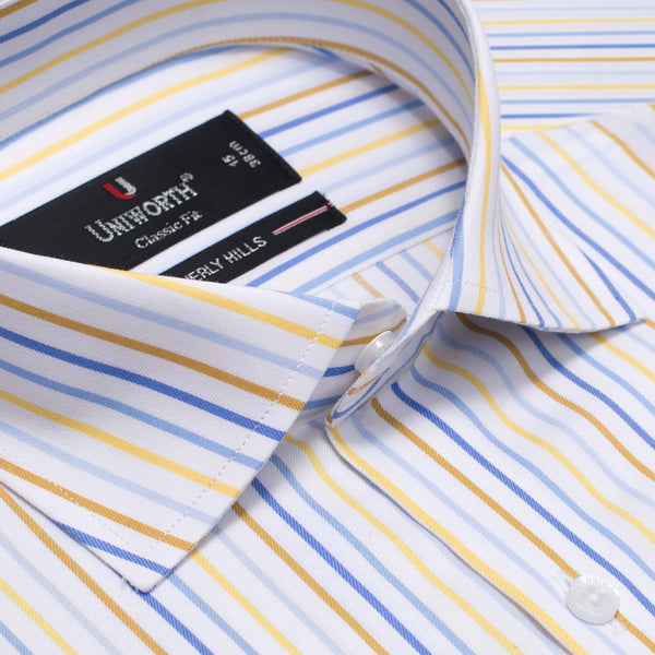 Beverly Hills White And Blue Stripe Classic Fit Men Dress Shirt