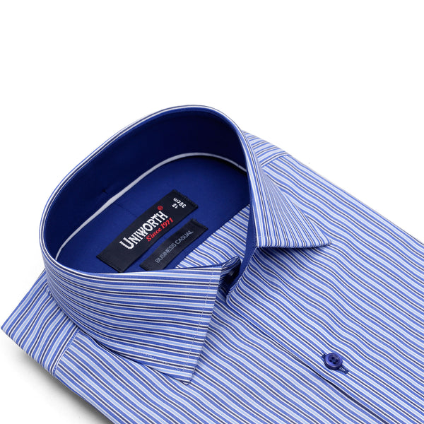 Blue And Black Stripe Business Casual Full Sleeve Shirt