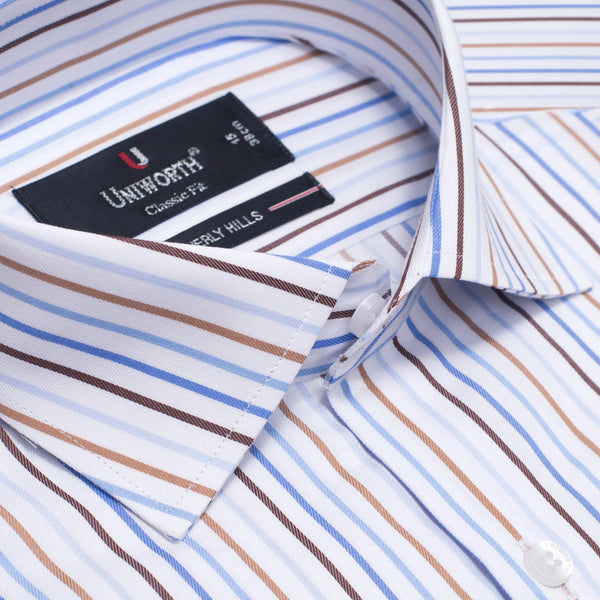 Beverly Hills Multi Stripe Classic Fit Men Dress Shirt