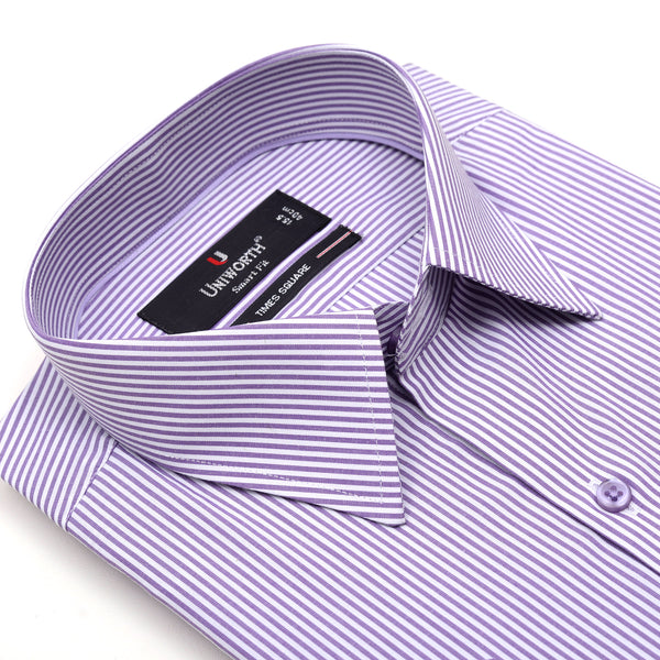 Times Square Purple And White Stripe Half Sleeve Dress Shirt