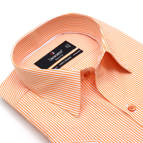 Times Square Orange And White Stripe Half Sleeve Dress Shirt