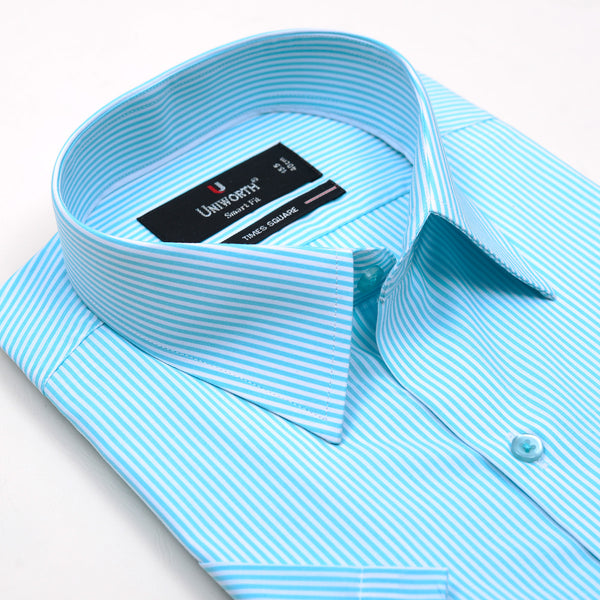 Times Square Aqua Blue And White Stripe Half Sleeve Dress Shirt