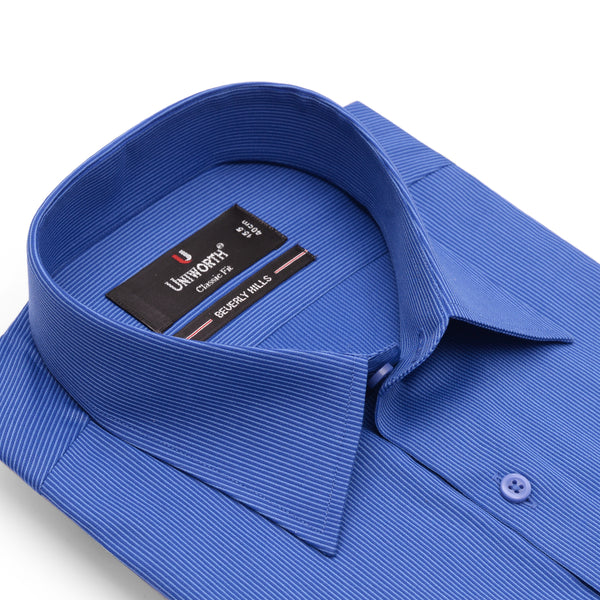 Beverly Hills Royal Blue Self Stripe Classic Fit Dress Shirt