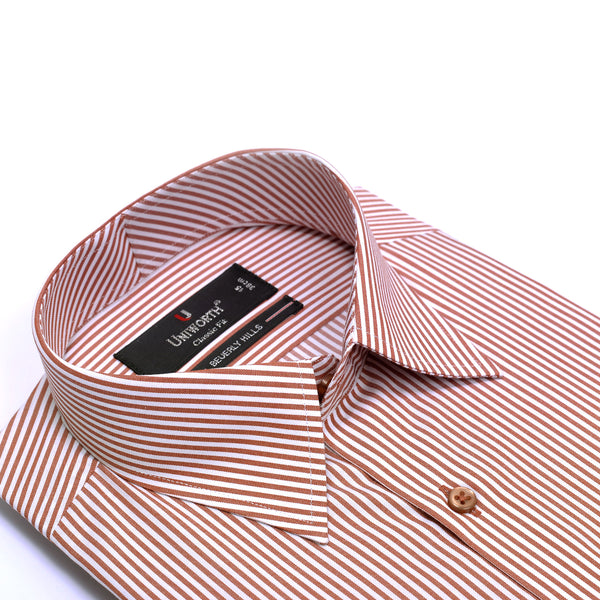 Beverly Hills Rust And White Stripe Classic Fit Men's Dress Shirt