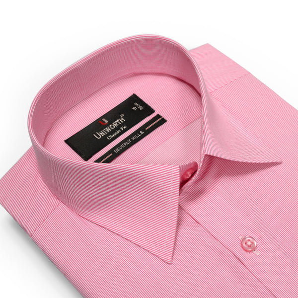 Beverly Hills Pink And White Stripe Classic Fit Men's Dress Shirt