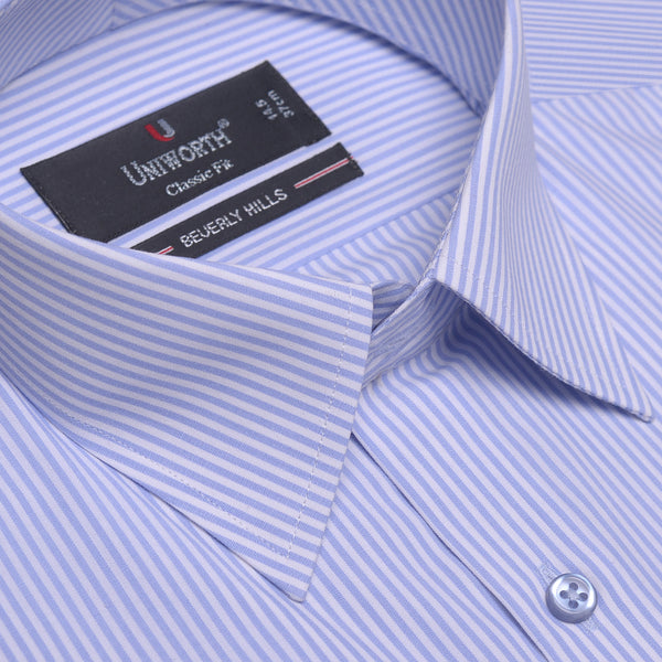 Beverly Hills Blue And White Striped Classic Fit Dress Shirt FS2373