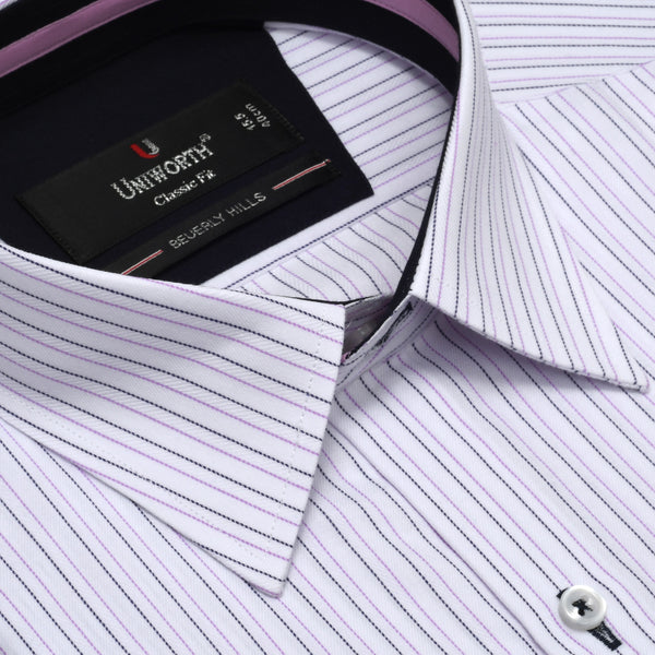 Beverly Hills Purple And White Stripe Classic Fit Dress Shirt FS2473
