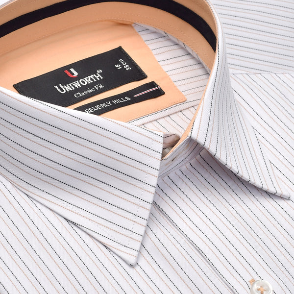 White And Black Striped Designer Classic Fit Shirt FS2475