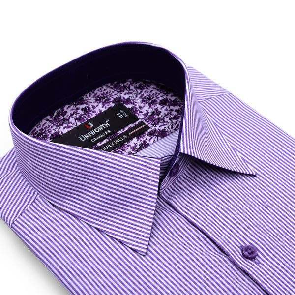 Beverly Hills White And Purple Stripe Classic Fit Dress Shirt