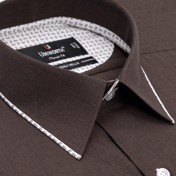 Beverly Hills Chocolate Brown Stripe Classic Fit Dress Shirt