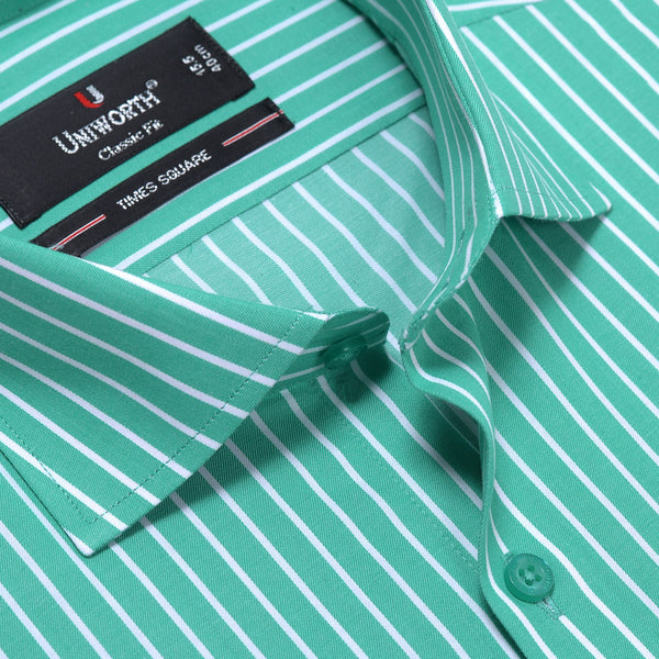 Times Square Green And White Stripe Classic Fit Dress Shirt