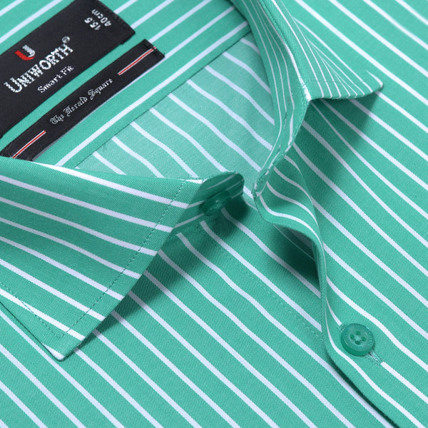 The Herald Square Green And White Stripe Smart Fit Dress Shirt