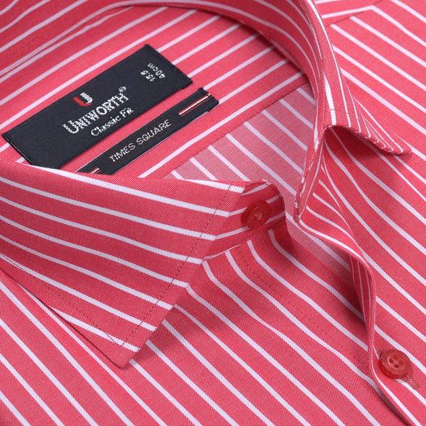 The Herald Square Red And White Stripe Smart Fit Dress Shirt