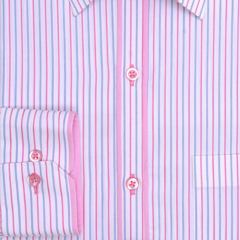 Beverly Hills Pink And Blue Stripe Classic Fit Dress Shirt