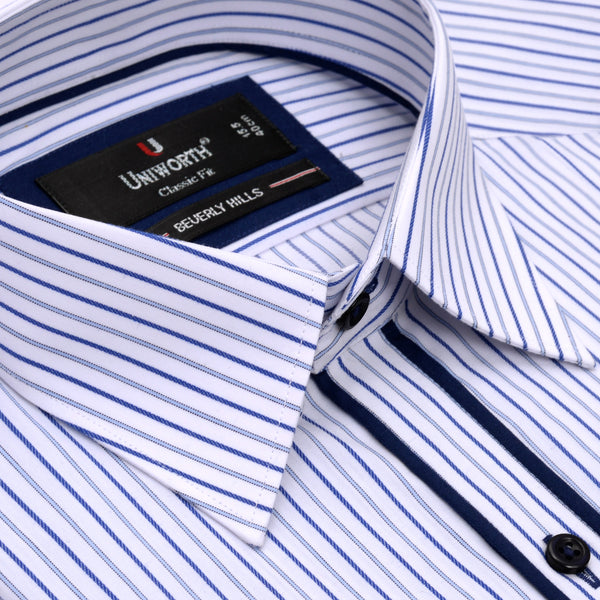 Beverly Hills White And Blue Stripe Classic Fit Dress Shirt