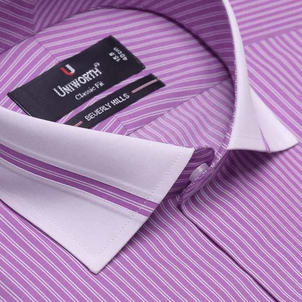 Beverly Hills White And Purple Striped Designer Classic Fit Shirt FS2518
