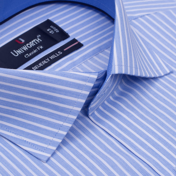 White And Sky Blue Striped Designer Classic Fit Shirt FS2519