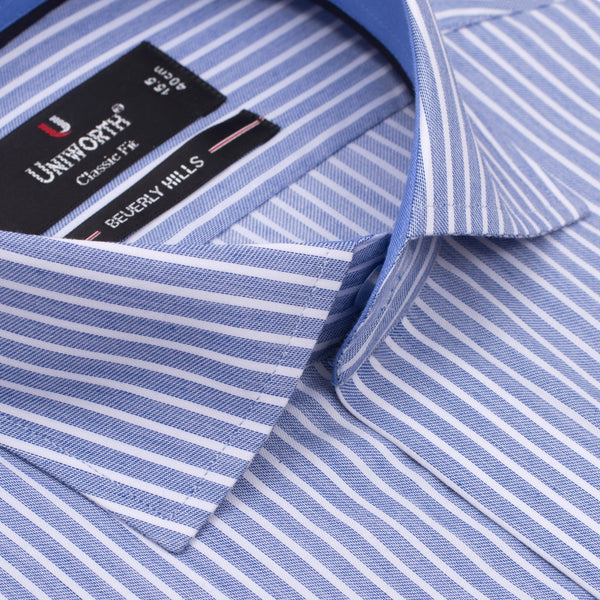 White And Navy Blue Striped Designer Classic Fit Shirt FS2523