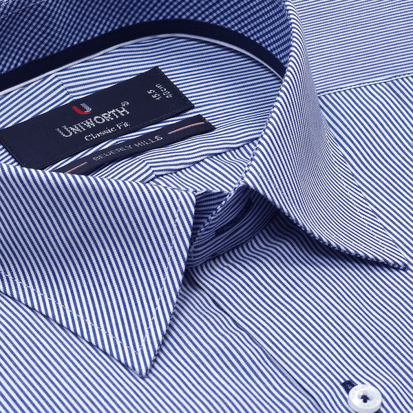 Beverly Hills White And Blue Striped Classic Fit Dress Shirt FS2547-1