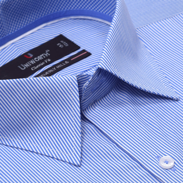 Beverly Hills White And Sky Blue Striped Classic Fit Dress Shirt FS2548-1