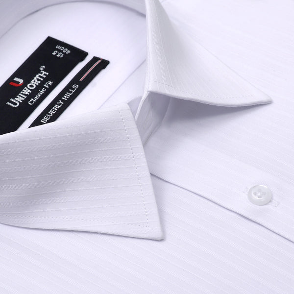 Beverly Hills White Self Stripe Classic Fit Dress Shirt