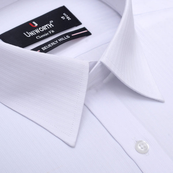 Beverly Hills White Self Stripe Classic Fit Dress Shirt FS2566