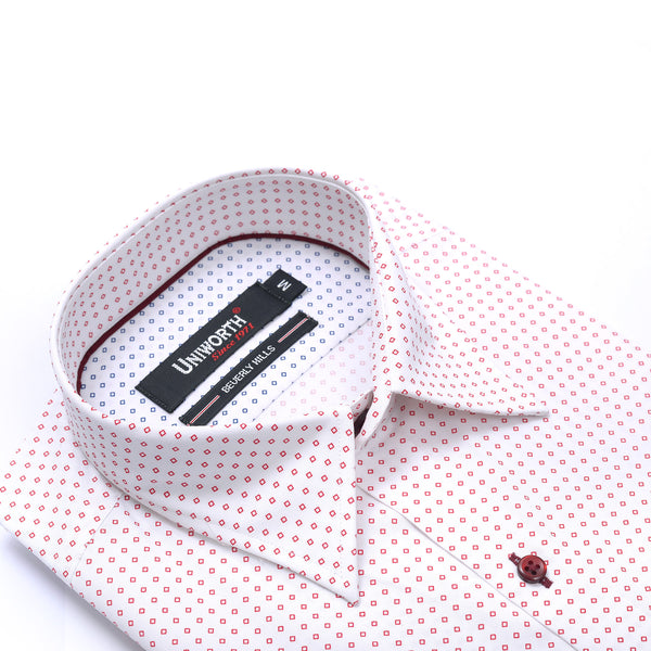 Beverly Hills Red Check On White Half Sleeve Regular Fit Dress Shirt
