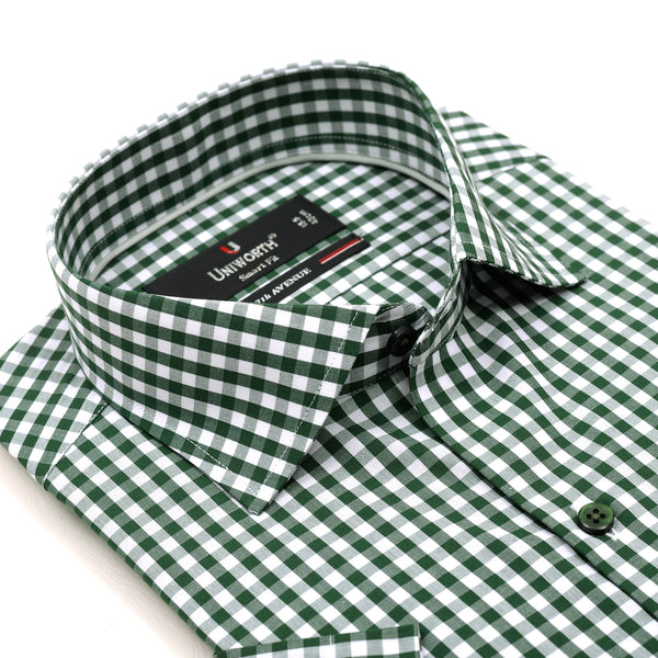 7th Avenue Green And White Check Half Sleeve Dress Shirt