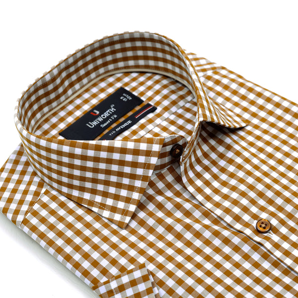7th Avenue Brown And White Check Half Sleeve Dress Shirt