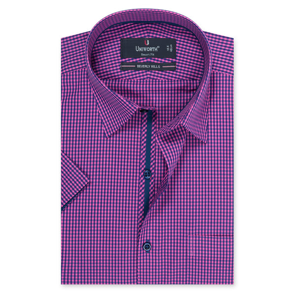Beverly Hills Navy Blue And Pink Check Half Sleeve Smart Fit Dress Shirt