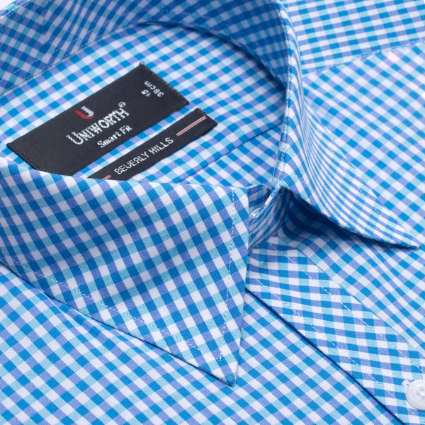 Beverly Hills Blue And White Check Smart Fit Formal Dress Shirt