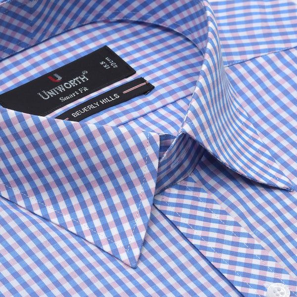 Beverly Hills White And Blue Check Smart Fit Formal Dress Shirt