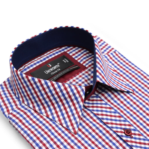 Beverly Hills Red And White Check Classic Fit Men's Dress Shirt