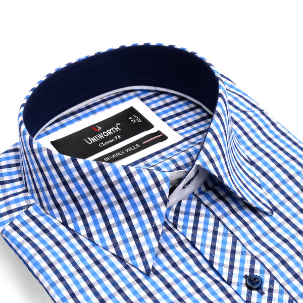 Beverly Hills Blue And White Check Classic Fit Men's Dress Shirt
