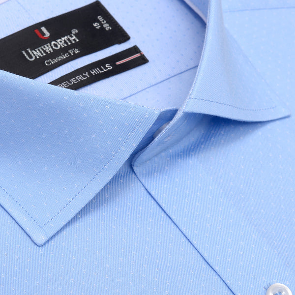 Beverly Hills White Dots On Sky Blue Designer Shirt