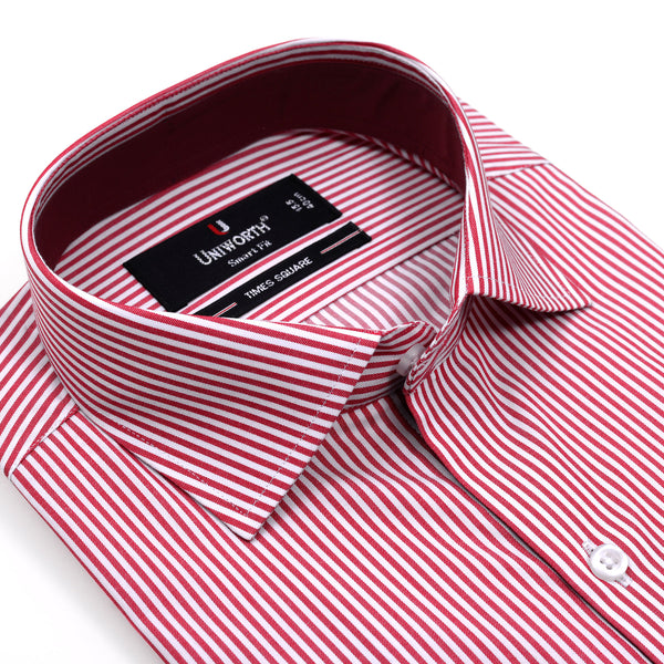 White And Red Stripe Smart Fit Designer Shirt