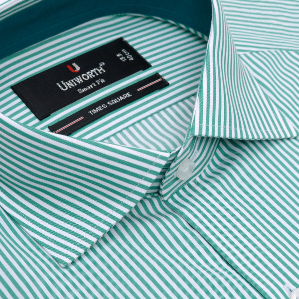 Times Square Green And White Stripe Smart Fit Dress Shirt