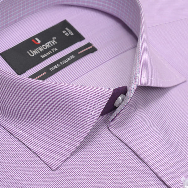 Times Square Dark Mauve And White Stripe Smart Fit Men's Dress Shirt
