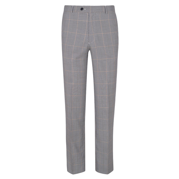 Grey Self Check Classic Fit Formal Trouser