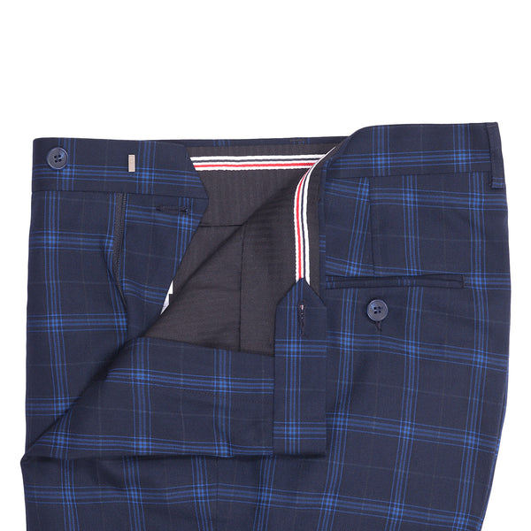 Blue Check On Navy Blue Smart Fit Formal Trouser