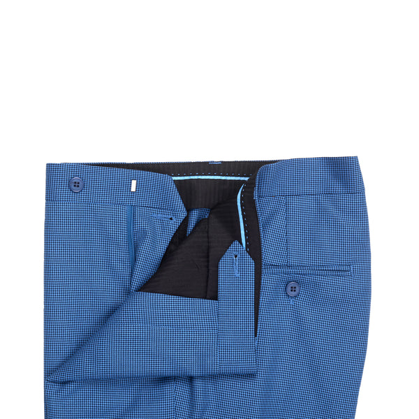 Royal Blue And Black Smart Fit Formal Trouser