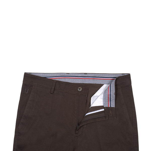 Chocolate Brown Smart  Fit Cotton Trouser