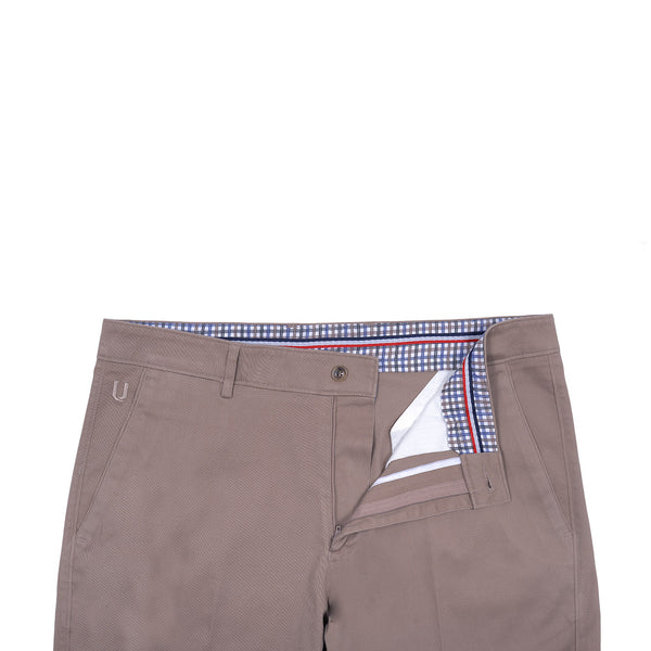 Khaki Smart  Fit Cotton Trouser