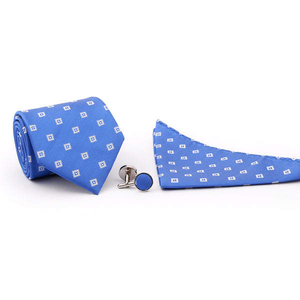 Blue And White Check Tie And Cufflink Set